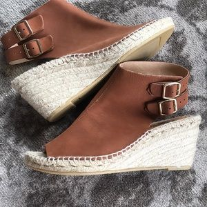 Kanna Leather Wedge Sandals Size 8